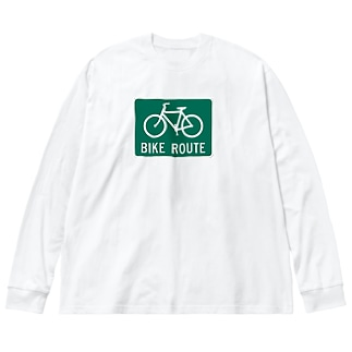 BIKEROUTE!! Big silhouette long sleeve T-shirts