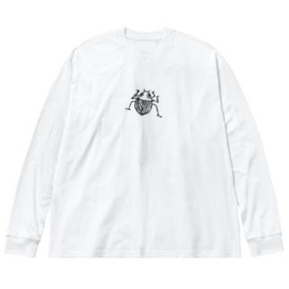 甲虫くん Big silhouette long sleeve T-shirts