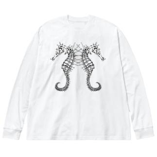 タツノオトシゴ 白 Big silhouette long sleeve T-shirts