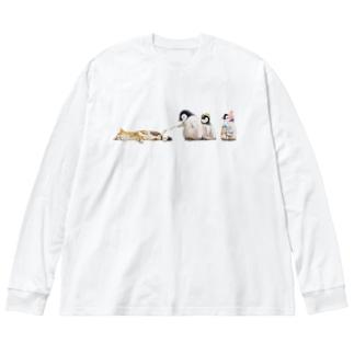 遊ぼう Big silhouette long sleeve T-shirts
