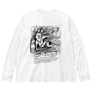 タイムトラベルうさうさ  Big silhouette long sleeve T-shirts