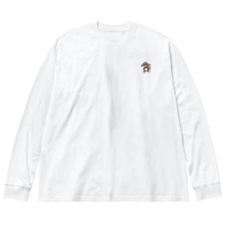 踊る犬(ミニ) Big silhouette long sleeve T-shirts