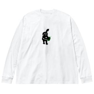 スイカをたべるオオカミ Big silhouette long sleeve T-shirts
