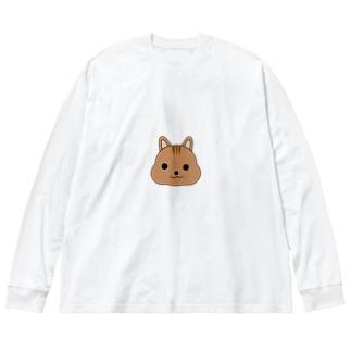 モグモグリスちゃん Big silhouette long sleeve T-shirts