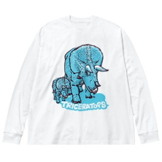 TRICERATOPS(成体と幼体) Big silhouette long sleeve T-shirts