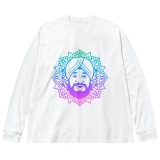 曼荼羅風ターバンさん2 Big silhouette long sleeve T-shirts