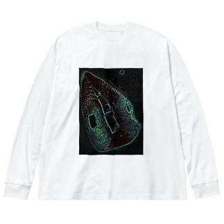 Akieem Zawadi's SHOPのGreen Rip Big Silhouette Long Sleeve T-Shirt
