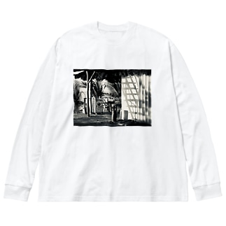 夕方の影 Big silhouette long sleeve T-shirts