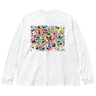 ぐるぐる。 Big silhouette long sleeve T-shirts