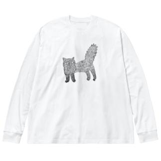 くろねこ Big silhouette long sleeve T-shirts
