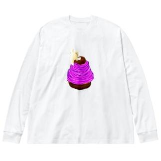 期間限定のモンブラン Big silhouette long sleeve T-shirts