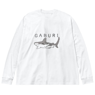 がぶりめじろざめ Big silhouette long sleeve T-shirts