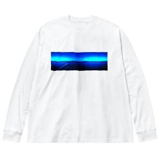背中合わせのブルー  Big silhouette long sleeve T-shirts