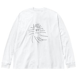 クモのモクちゃん Big silhouette long sleeve T-shirts
