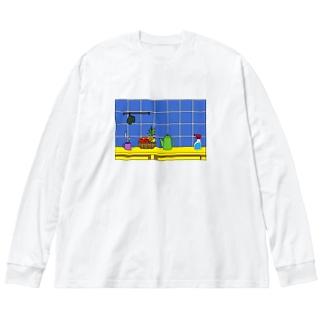 キッチン Big silhouette long sleeve T-shirts