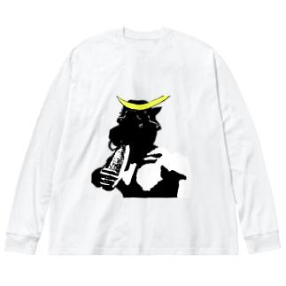 頭だけ間に合った仙台のレイヤー Big silhouette long sleeve T-shirts