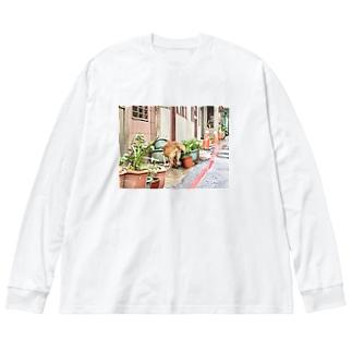 九份わんちゃん Big silhouette long sleeve T-shirts