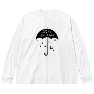 帰ろうか モノクロ Big silhouette long sleeve T-shirts