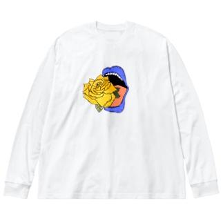 心臓喰 青 Big silhouette long sleeve T-shirts