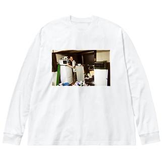 冷蔵庫廃品回収記念品(カラー) Big silhouette long sleeve T-shirts