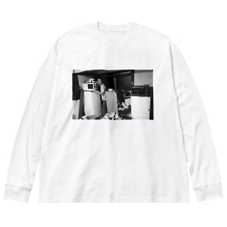 冷蔵庫廃品回収記念品 Big silhouette long sleeve T-shirts