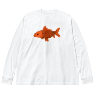 金魚 Big silhouette long sleeve T-shirts