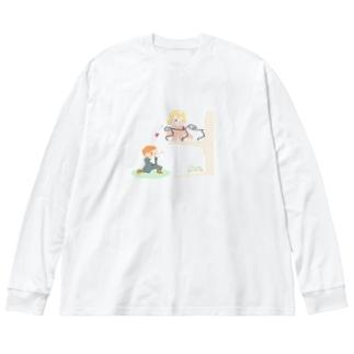 二階から目薬 Big silhouette long sleeve T-shirts