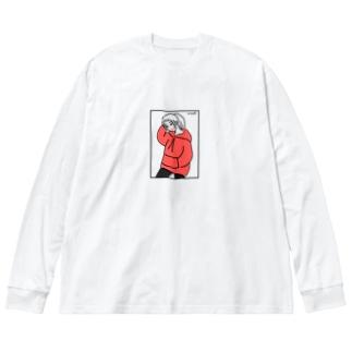 もう秋だね Big silhouette long sleeve T-shirts