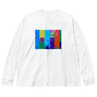色ペンシル Big silhouette long sleeve T-shirts