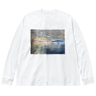箕沖から仙酔島-200928 Big silhouette long sleeve T-shirts