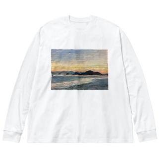 箕沖から仙酔島'-200928 Big silhouette long sleeve T-shirts
