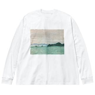 箕沖から仙酔島''-200928 Big silhouette long sleeve T-shirts