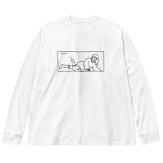 爪先に色気 Big silhouette long sleeve T-shirts