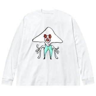 イカ人 Big silhouette long sleeve T-shirts