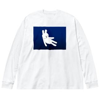 沈んでいくうさぎ Big silhouette long sleeve T-shirts