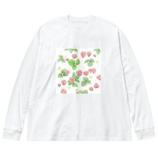 イチゴ Big silhouette long sleeve T-shirts