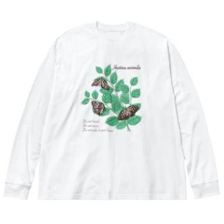 アカボシゴマダラとエノキ Big silhouette long sleeve T-shirts