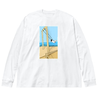 ブランコにのる女の子 Big silhouette long sleeve T-shirts