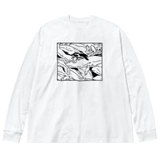ぎゅうぎゅうオオサンショウウオ Big silhouette long sleeve T-shirts