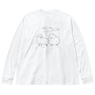 毛刈り待ち Big silhouette long sleeve T-shirts