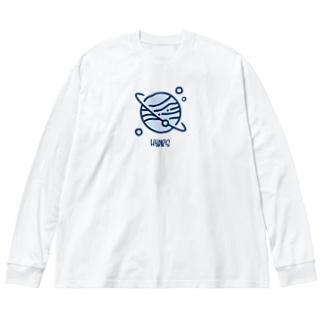 ほっといて (青) Big silhouette long sleeve T-shirts