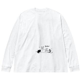 ごろんするうま Big silhouette long sleeve T-shirts