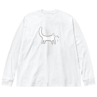 ニャー Big silhouette long sleeve T-shirts