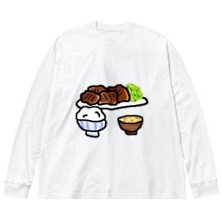 文字なし焼肉定食 Big silhouette long sleeve T-shirts