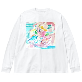花のイロ Big silhouette long sleeve T-shirts