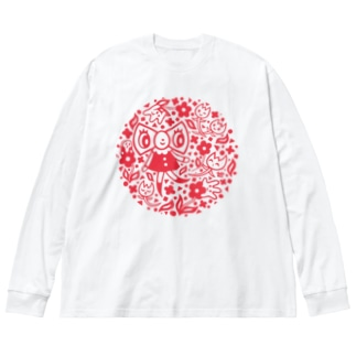 リボンちゃん Big silhouette long sleeve T-shirts