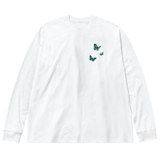 Butterfly Nun ver.back Big silhouette long sleeve T-shirts