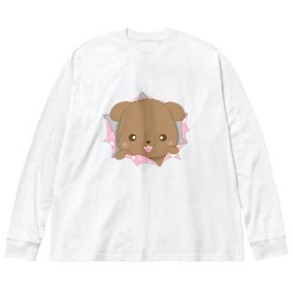 Fluffy Clubのおーちゃんびっくり作戦 Big silhouette long sleeve T-shirts