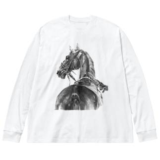 サラブレッドの肖像画ロング Big silhouette long sleeve T-shirts