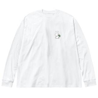 うさぎとかめ Big silhouette long sleeve T-shirts